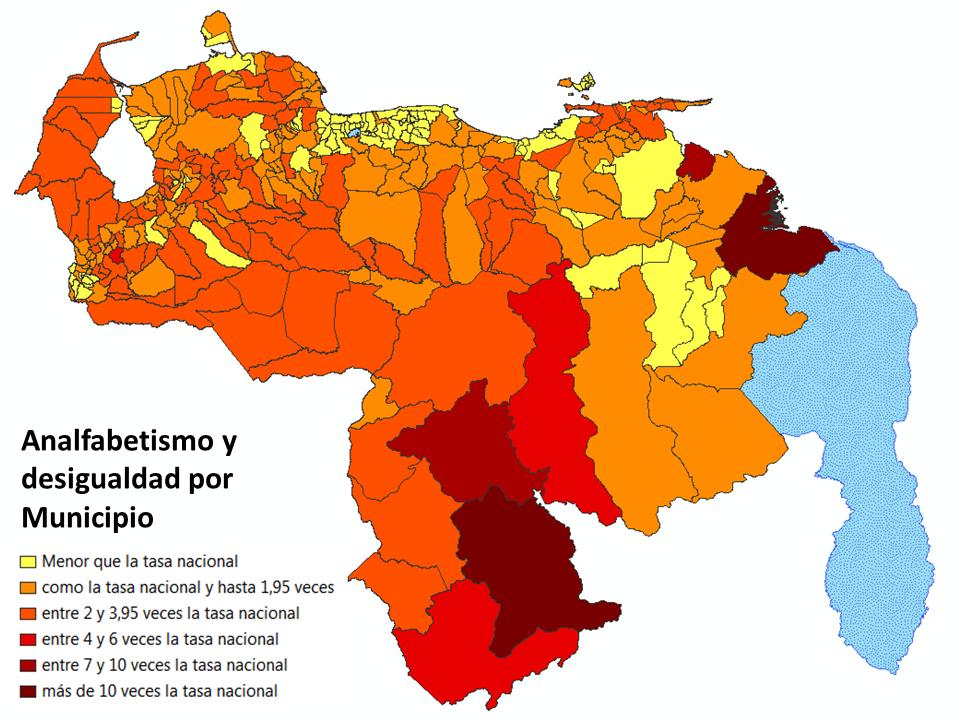 Disparidades territoriales por la distribución de la tasa de analfabetismo por municipio, de acuerdo a los datos del Censo 2011