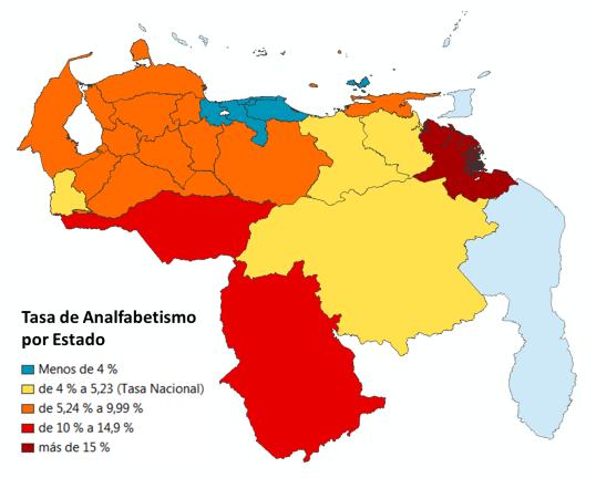 Tasa de analfabetismo por Estado, de acuerdo a los datos del Censo 2011