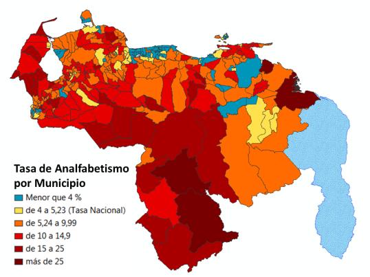 Distribución del analfabetismo por Municipio, de acuerdo a los datos del Censo 2011