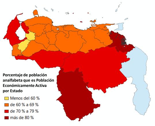 Población analfabeta que es Población Económicamente Activa por Estado. Datos del Censo 2011
