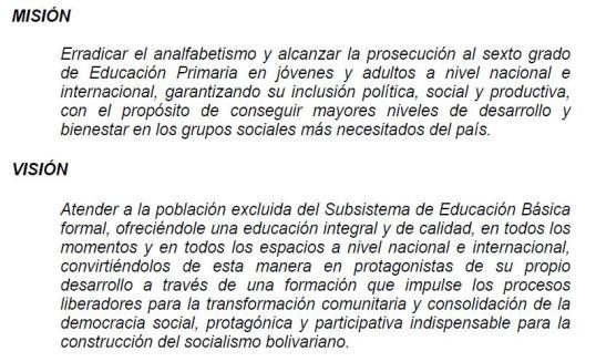 Captura de pantalla del texto de la memoria y cuenta del MPP para la Educación