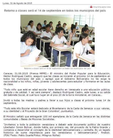 Noticia capturada de la página del MPPE